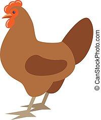 Cartoon chicken. Farmer isolated bird. Vector