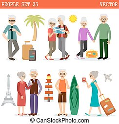 Elderly people travel all over the world and have a rest...