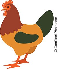 Cartoon rooster. Farmer isolated animal. Vector