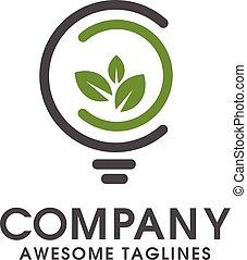 green leaf with abstratc bulb logo - green innovative logo...