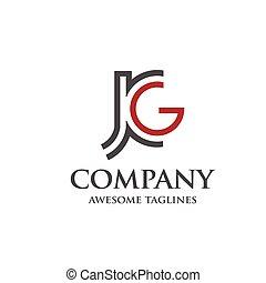 abstarct letter J and G logo - letter J and G, J, G, Letter...