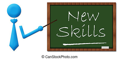 New Skill Human With Greenboard - Human symbol pointing to...