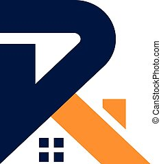 letter R with roofing style real estate logo concept