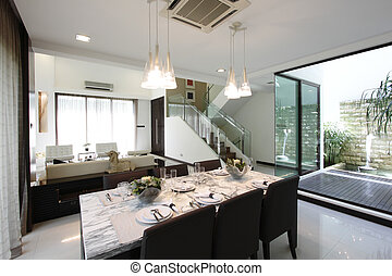 Home interior - A dining area in a modern home