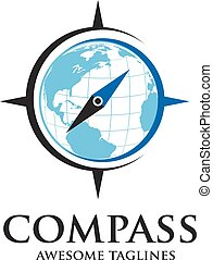 simple compas and globe logo - creative Compass simple and...
