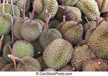 durian king of fruit - Durian fruit in Thailand market for...
