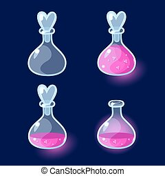 Set of Cartoon Bottles potion - Vector illustration Set of...