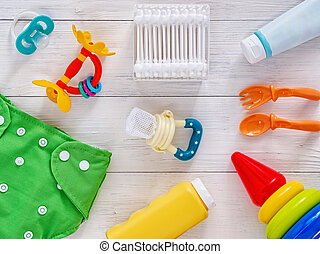 Collection of items for babies top view - Collection of...