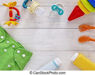 Collection of items for babies with copy space - Babies...