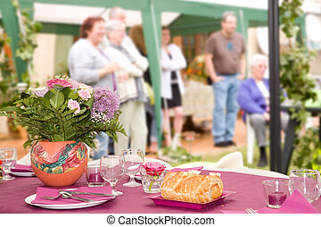 Garden party for a family meeting