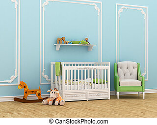 Classic children's room with a crib, chair and toys. 3d...