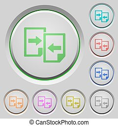 Share documents push buttons - Set of color Share documents...