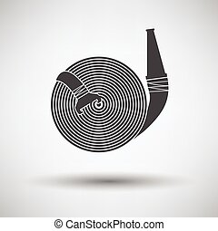 Fire hose icon on gray background with round shadow. Vector...