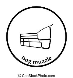 Dog muzzle icon Thin circle design Vector illustration