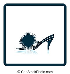 Woman pom-pom shoe icon Shadow reflection design Vector...