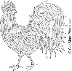 Hand drawn doodle outline rooster illustration. Decorative in zentangle style