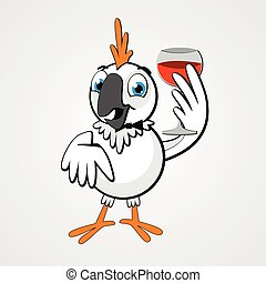 White funny cartoon hilarious parrot with a glass of wine...