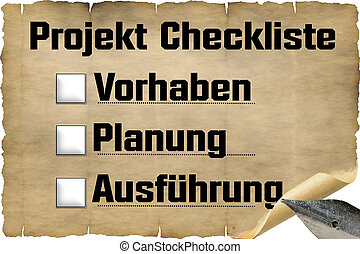 Checklist old document paper with antique fountain pen and...