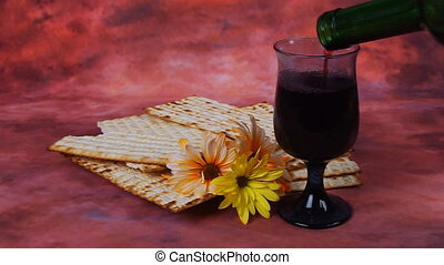 Passover wine and matzoh jewish - Background with matzo and...