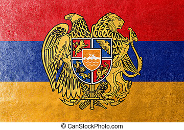 Flag of Armenia with Coat of Arms, painted on leather...