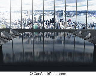 Boardroom table with city background. 3D illustration.