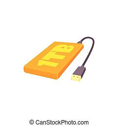 External hard drive 1tb icon, cartoon style