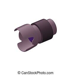 Camera lens icon, cartoon style