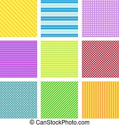 Set of 9 geometrical seamless patterns.