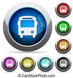Bus button set - Set of round glossy bus buttons. Arranged...