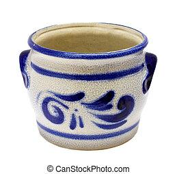 Danish retro painted blue ceramic urne isolated on white background.