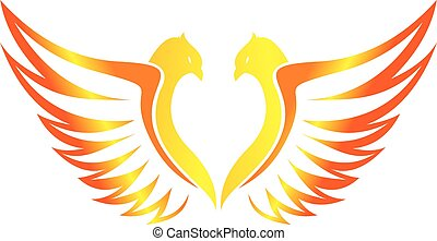 love of phoenix flaming flying - logo can use for wedding...