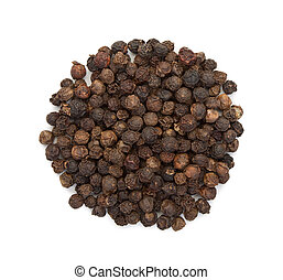 The seeds of black pepper, a heap, top view on a white background, close-up.