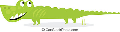 Cartoon happy green Croc - Vector Illustration of happy Croc...
