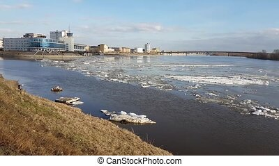 Ice drift on river Irtysh. Omsk city.