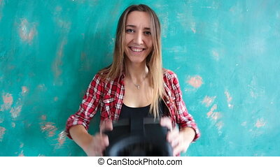 Young woman giving virtual reality headset - Happy young...