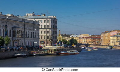 Embankment of Fontanka River timelapse hyperlapse, view from the Anichkov bridge, Saint-Petersburg, Russia