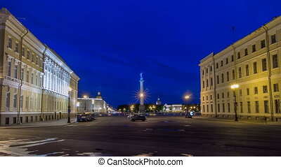 Palace Square and Alexander column timelapse hyperlapse in St. Petersburg at night, Russia.