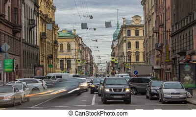 Gorohovaya street traffic timelapse in historic part of city in St.Petersburg, Russia.