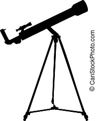 Silhouette of telescope. Vector illustration. - Silhouette...