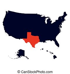 Texas State in the United States map