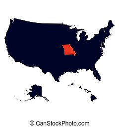 Missouri State in the United States map vector