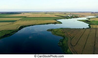 beautiful river landscape. Aerial view
