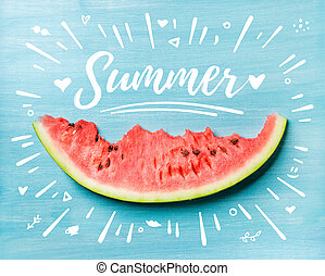 Summer concept illustration Slice of watermelon on turquoise...