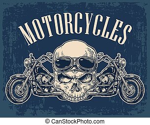 Motorcycle side view and skull with glasses.