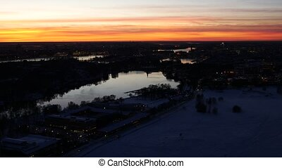 Night Stockholm aerial view