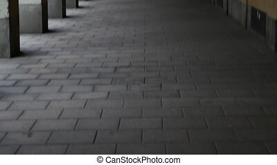 Panning view of hallway with many columns. Girl coming from...