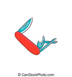 Red pocket knife with lots of tools icon - icon in cartoon...
