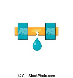 Dripping water pipe icon, cartoon style - icon in cartoon...