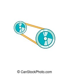 Timing belt icon in cartoon style - icon in cartoon style on...