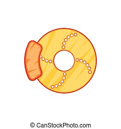 Brake disk icon in cartoon style on a white background